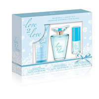 Playboy Love2Love Blue Gift Set (3.4 Ounce Eau De Toilette Plus 2.5 Ounce Body Lotion Plus 0.375 Ounce Mini Eau De Toilette)