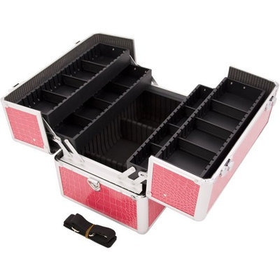 JustCase 4-Tiers Accordion Trays Pro Cosmetic Makeup Case with Dividers