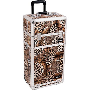 Sunrise 2-in-1 Pro Rolling Cosmetic Makeup Artists Case Extendable Trays Mirror Brush with 2 Drawers