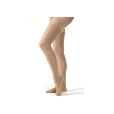 Jobst Women's Ultrasheer 30-40 mmHg Thigh High Extra Firm Support Sock with Lace Silicone Top Band Size: X-Large, Color: Natural