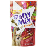 Friskies Party Mix Cat Treats, Mixed Grill Crunch, Chicken, Beef & Salmon Flavors, 2.1-Ounce Pouch, Pack of 10
