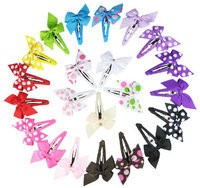 HipGirl Boutique Girls Pinwheel Hair Bow Snap Clips/Barrettes