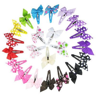 HipGirl Boutique Girls Pinwheel Hair Bow Snap Clips/Barrettes