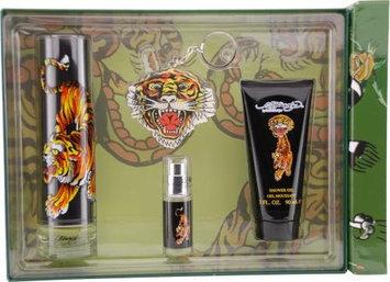 Ed Hardy By Christian Audigier For Men Edt Spray 3.4 Oz & Shower Gel 3 Oz & Edt Spray .25 Oz Mini & Keychain