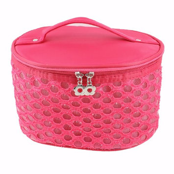 Uxcell Hollow Out Circle Meshy Design Zipper Up Cosmetic Bag