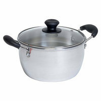 Imusa Aluminum Pot with Glass Lid and Bakelite Handle (4 Quart)