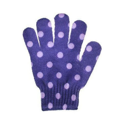 Spa Sister Bathing Gloves Purple with Lavender Dots