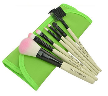 PuTwo Make up Brushes 7 Pcs Makeup Brush Set Travel Essential Cosmetic Makeup kit with Pouch Bag - Green