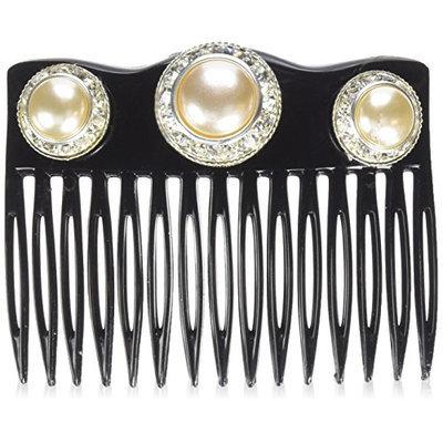 Caravan Crown Comb Embellished with 3 Pearl Swarovski Rhine Stone Rings