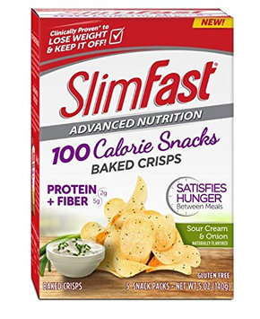 SlimFast® Advanced Nutrition 100 Calorie Snacks Sour Cream & Onion Baked Crisps, 5 ct. Box