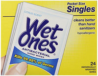Wet Ones Citrus Antibacterial Hand and Face Wipes Singles