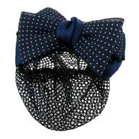 Uxcell Dotted Bow Net Cover Snood Barrette Hair Clip