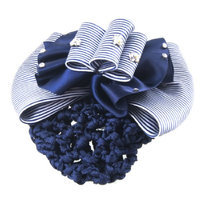 Uxcell Lady Flower Embellished Stripe Bowknot Net Hair Clip