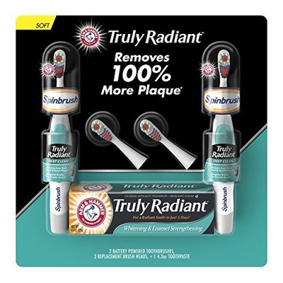 ARM & HAMMER Truly Radiant Battery Toothbrush + Toothpaste Pack