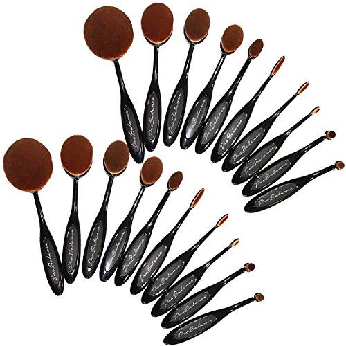 110OVBRSH10 Pro Balance Soft Hair Oval Makeup Brush Sets 20 Pcs