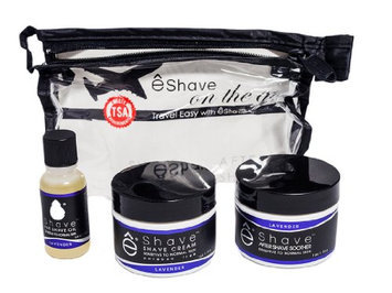 eshave On The Go Cosmetic Kit (Pre Shave Oil Plus Shave Cream Plus After Shave Soother Lavender Plus Clear Bag)