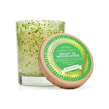 Pure Plant Home Magic In Woodlands Speckled Green Glass Candle 6oz