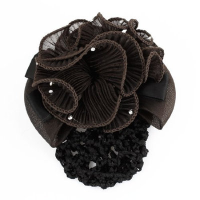 Uxcell Rhinestone Decor Flower Snood Net Barrette Hair Clip