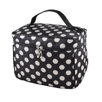 Uxcell Polka Dots Mirror Pockets Hand Strap Makeup Bag