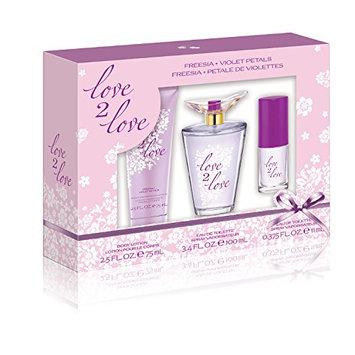 Love2Love Purple Gift Set (3.4 Ounce EDT Plus 2.5 Ounce Body Lotion Plus 0.375 Ounce Mini EDT)