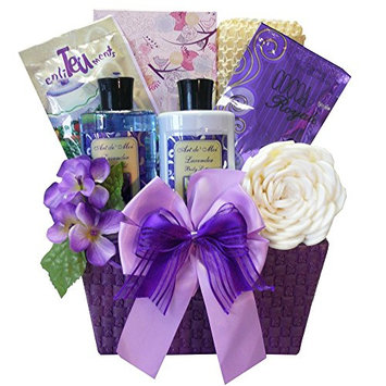 Art of Appreciation Gift Baskets Tranquil Delights Spa Bath & Body Gift Set Basket with Tea