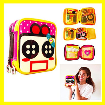 Cute Makeup Bag Cosmetic Organizer Toiletry Pencil Pouch Women Back to School Teen Girl Train Case (Small) By Miss Locker