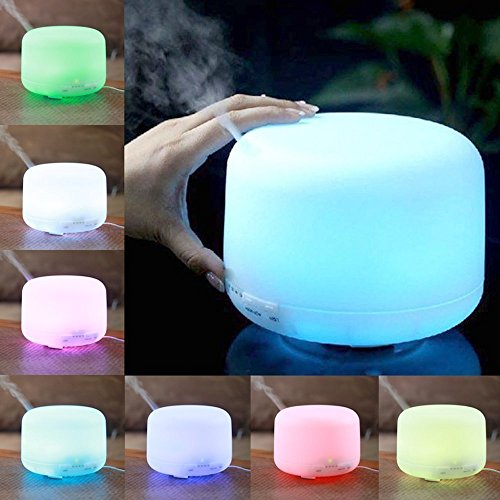 500ml Aroma Essential Oil Diffuser Ultrasonic Air Humidifier with 4 Timer Settings LED Color Changing Lamps