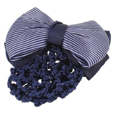 Uxcell Women Stripes Bowtie Knot Snood Net French Hair Clip