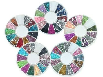 Bundle Monster 5 Nail Art Nailart Manicure Wheels W 3D Designs Glitters Rhinestones Beads
