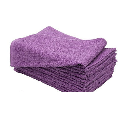 American Terry Mills 100% Cotton Salon Towels Gym Towels Hand Towel 12-Pack Purple- (16