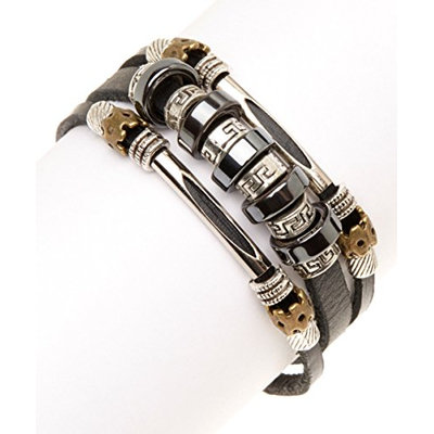 Black Leather & Silvertone Greek Key Bracelet