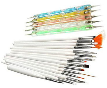 100% Brand New 20-piece Nail Art Painting Brush Sets and Dotting Pen Tools