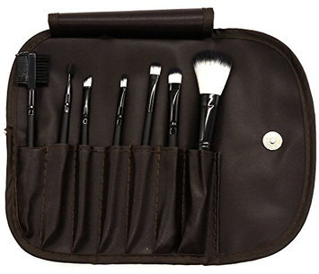 PuTwo Make up Brushes 7 Pcs Makeup Brush Set Travel Essential Cosmetic Makeup kit with Pouch Bag - Brown