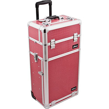 Sunrise 2-in-1 Pro Rolling Cosmetic Makeup Artists Case with Slide Trays/Bag/Brush Holder and 2 Drawers