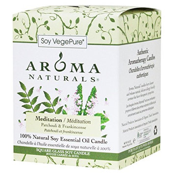 Aroma Naturals 100 Percent Natural Meditation Square Glass Soy Candle