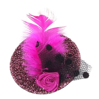 Uxcell Women Evening Party Glittery Hat Feather Flower Hair Clip