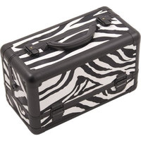 Hiker 3-Tier Extendable Trays Pro Cosmetic Makeup Case with Brush Holder in Zebra