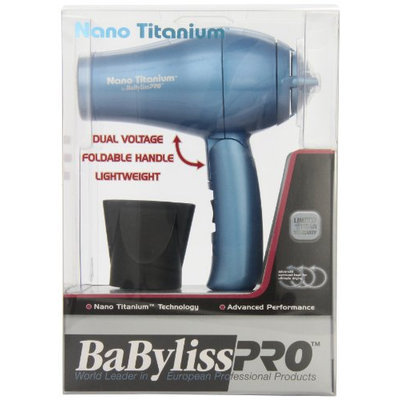 BaBylissPRO Nano Titanium Travel Dryer with Folding Handle (Dual Voltage)