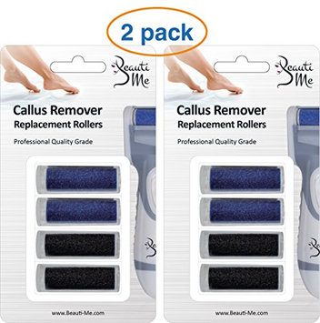 Beauti Me Professional Electronic Callus Remover Foot File for Smooth Skin and Pedicure - Replacement Rollers Refills (8 Count)