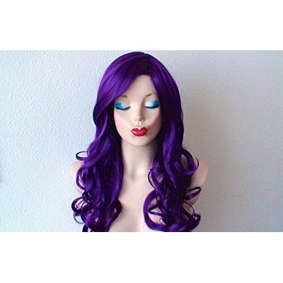 Purple wig. Deep purple Long curly hair long side bangs wig. Durable Heat resistant wig for daytime use or cosplay.