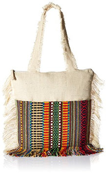 2Chic Ivory Fringed Tote Bag with Woven Design