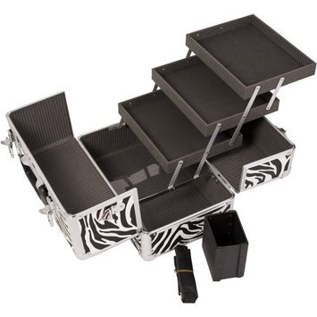 JustCase 3-Tiers Extendable Trays Professional Cosmetic Makeup Case with Brush Holder