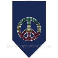 Mirage Pet Products 6770 LGNB Rasta Peace Rhinestone Bandana Navy Blue large