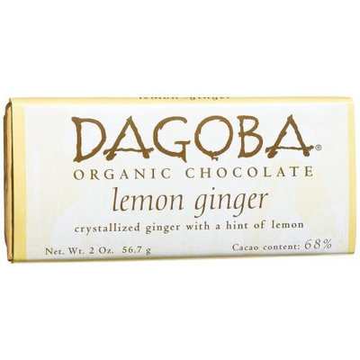 Dagoba Lemon Ginger (68%) Crystallized Ginger, Lemon Bar, 2.0-Ounce Bars (Pack of 12)
