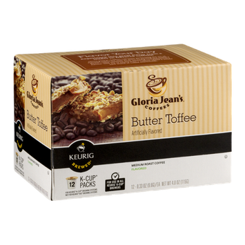 Gloria Jean's Butter Toffee Medium Roast Coffee K-Cup Packs - 12 CT