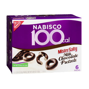 Nabisco 100 Cal Mister Salty Milk Chocolate Pretzels - 6 PK