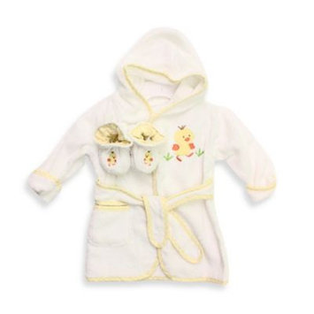 SpaSilk 100% Cotton Terry Robe and Bootie Set - Yellow Duck (0-9 Months)