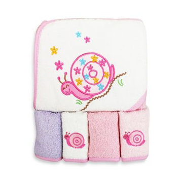 SpaSilk Thick 100% Cotton Terry Hooded Towel Set with 4 Washcloths - Pink Snail