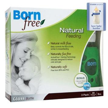 BornFree Glass Bottle 3-Pack - with Bonus Silicone Sleeve