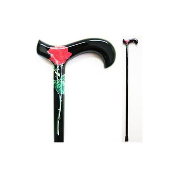 Med Aid Corp Carbon Fiber Walking Cane Color: Black with Red Rose